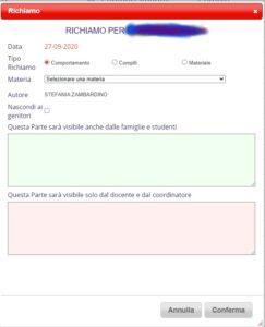 annotazioni sul registro elettronico