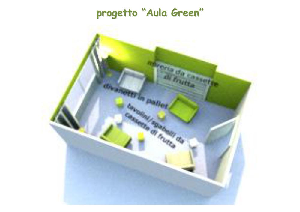 progetto Aula Green rendering 3D Liceo Orazio